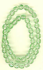 50 Vintage Glass Haskell Beads - Light Green Faceted 6mm FINAL MARKDOWN #215