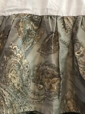 Ralph Lauren Chaps King Bed Skirt Cold Spring Paisley Gold Gray 15� Drop Ruffled