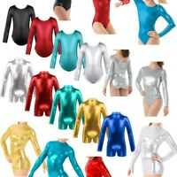 Girls Glittery Metallic Ballet Dance Leotard Child Long Sleeves Gymnastics Wear