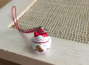 Lucky Cat Maneki Neko Japanese Bell 2.2 cm. Lucky and Rich