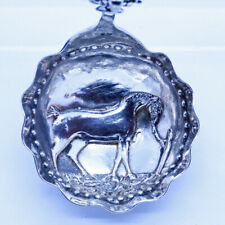 Antique Caddy Spoon Dutch Silver Horse Dog Animals Flowers (5372)