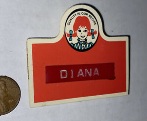 VTG WENDY'S Uniform Employee Name Tag Badge DIANA Restaurant TERACO USA Pigtails