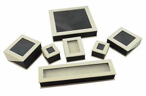 Luxury Dubai Card Hinged Jewellery Gift Presentation Boxes Clear Window