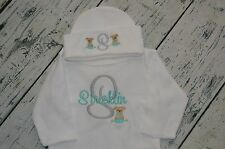 Monogrammed Sleeper Romper and Hat Set size 0-3 Month, Personalized Puppy Baby
