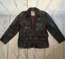 Original Men's M. Julian Distressed Leather Jacket With Belt And Lining Zip Sz