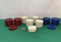 Vtg 89pc '40-50's Heavy Plastic FEELS GOOD YOUR HAND Poker Chip Casino Card Game