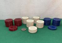 Vtg 89pc '40-50's Heavy Plastic FEELS GOOD YOUR HAND Poker Chip Casino Card Game