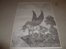 Vintage Dan Thompson Pegasus Winged Unicorn Print Signed Fantasy Drawing 1987 >