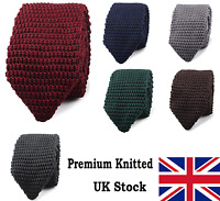 High Quality Men's Fashion Tie Knit Knitted Tie Slim 7cm Wide Woven Pointed UK