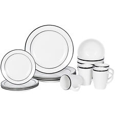 White 16-Piece Kitchen Dinnerware Set Plates, Bowls Mugs Service for 4