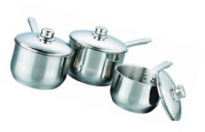 Buckingham Professional Induction Stainless Steel Set of 3 Deep Saucepans With L
