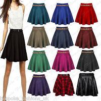 Ladies Women's Plain, Tartan Belted Short Mini Party Skater Skirt Plus Size 8-22