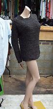 Maje sz 3 fabulous noir gris & bronze cunky à manches longues pull en maille swaetor haut