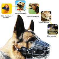 PET DOG MOUTH BREATHABLE ADJUSTABLE ANTI-BITE METAL MUZZLE PROTECTION COVER HOT