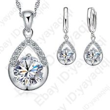 Shining Cubic Zircon CZ Water Drop Pendant Necklace/Earring Sets Jewelry Set