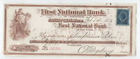 1883 Cassopolis Michigan vignetted check with revenue stamp [y2988]