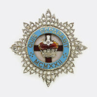 Diamond Military Brooch - Vintage Diamond Crown Military Brooch 18ct White Gold