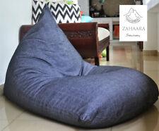 Large BEAN BAG chair cover, Black, Grey 100% COTTON Handloom, Lounger