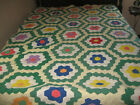 Old+SOLID+COLOR+FLOWER+GARDEN+QUILT+YELLOW+PATH+cutter+frayed+torn+at+one+end