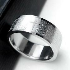 NEW Fashion Punk Jewelry Men Stainless Steel Bible Lord's Prayer Cross Ring Gift