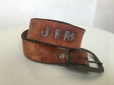 Vintage Carmel Brown Leather Belt JIM Engraved With Bear Paws Prints 26-35.5""