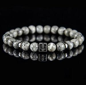 Perlenarmband für Herren Männer Lilie Fleur de lis Edelstahl armband Achat Stein