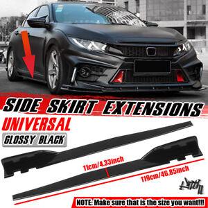 """2x 47""""/119cm Universal Car Side Skirt Bumper Extension Panel Spoiler Gloss Black"""