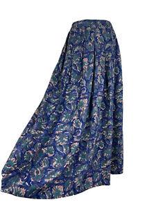 Vintage Anokhi Blue Green Pocketed Boho high Waisted Midi Skirt Size 10
