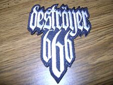 DESTROYER 666,IRON ON WHITE EMBROIDERED PATCH