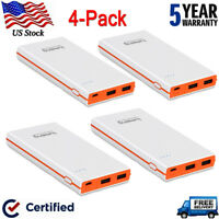 4 pack Portable External Battery Dual USB Fast Charger Power Bank for Cell Phone