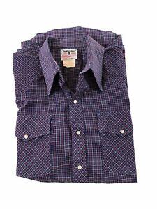 R M Williams Men's Vintage Western Pearl Snap Long Sleeve Shirt XOS 44cm