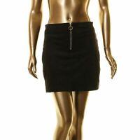 LA CLASSE COUTURE NEW Women's Black Faux-suede Front-zip Mini Skirt S TEDO
