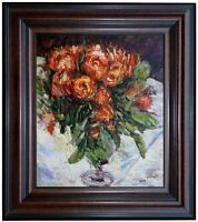 Framed, Pierre-Auguste Renoir Roses Repro, Hand Painted Oil Painting 20x24in