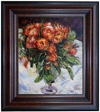 Framed, Pierre-Auguste Renoir Roses Repro, Hand Painted Oil Painting 20x24in