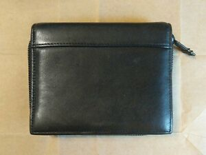 Vintage TUMI PDA Leather Wallet Zippered Case w/ Credit Card Slots Black NM