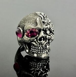 14 K White Gold Skull Ring With Diamonds And Ruby Lights By Sacred Angels