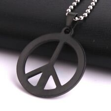 "Stainless Steel Pendant 1.31X1.31 Inch Peace Sign Black Necklace 22"" B24"