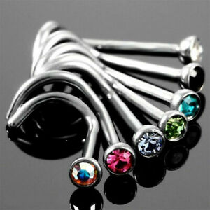 22g Surgical Steel Thin Gem Pig Tail Nose Piercing Nose Ring Crystal Screw Stud