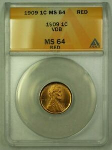 1909 VDB Lincoln Wheat Cent 1c ANACS MS-64 Red (B) (WW)