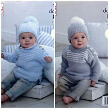 Baby KNITTING PATTERN Baby's Striped Jumpers & Hats DK King Cole 5255
