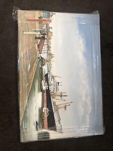 Original Acrylic Painting Of Birkenhead Docks, Liverpool Skyline
