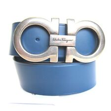 B-338147 New Salvatore Ferragamo Blue Leather Silver Logo Buckle Size 46 Fits 44