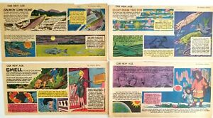 4 OUR NEW AGE By Athelstan Spilhaus Comic Strips Polution Salmon Sun Light 1960s