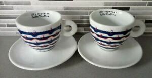 ILLY ART COLLECTION CAPPUCCINO CUP & SAUCER X2 DESIGNED BY GILLO DORFLES **VGC**