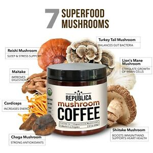 La Republica USDA Organic Coffee with 7 Superfood Mushrooms (Chaga Lion Keto)