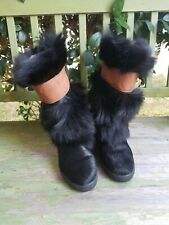 Oscar Sport Cristina Leather Italian Fur Boots Women's Size 7 Euro Size 37
