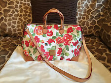 Dooney & Bourke White Red Rose Garden Leather 2 Way Convertible Carryall Satchel