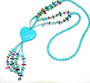 Turquoise Heart Stone Tassel Necklace with Multi Color Stones - New