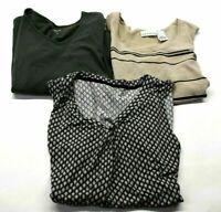 Lot of 3 Croft Barrow Women's L Mixed Style 3/4 Sleeve Tee Tank Knit Blouse Top