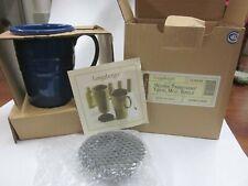 Longaberger Pottery Cornflower Blue Woven Traditions Travel Latte Mug Unused